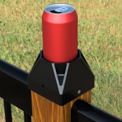 Post cap with cup holder